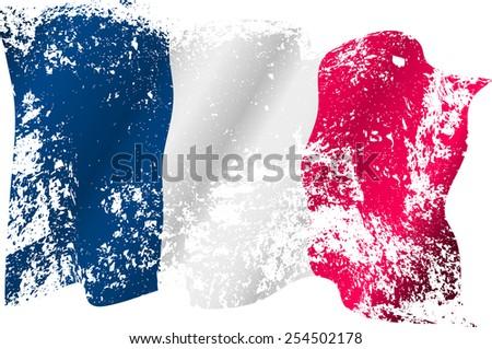 France grunge flag on transparent background. Eps10 - stock vector