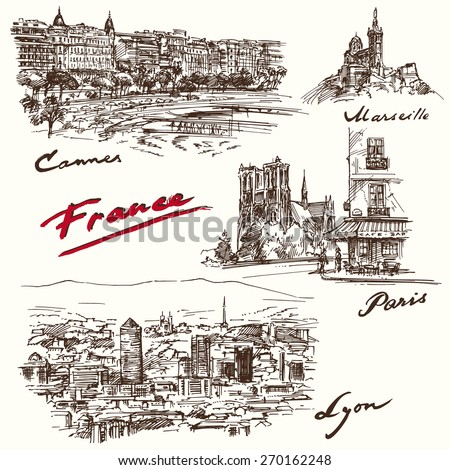 France - hand drawn collection - stock vector