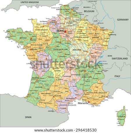 France - Highly detailed editable political map with labeling. - stock vector