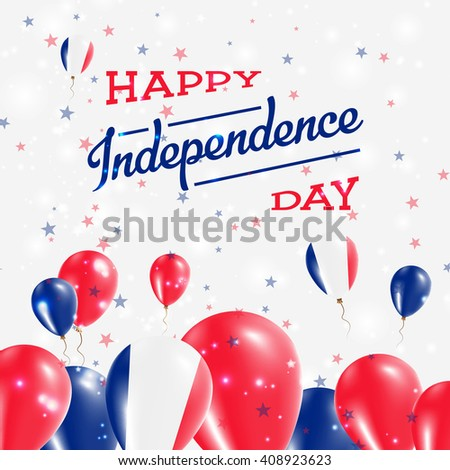 France Independence Day Patriotic Design. Balloons in National Colors of the Country. Happy Independence Day Vector Greeting Card.