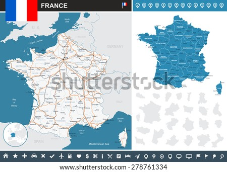 France infographic map - illustration  Image contains: - land contours - country and land names - city names - water objects - flag - navigation icons - roads - railways  - stock vector