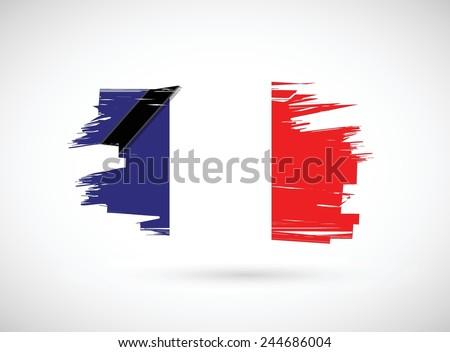 france ink flag illustration design over a white background - stock vector