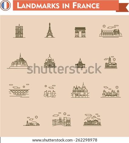 France landmarks icon set - stock vector