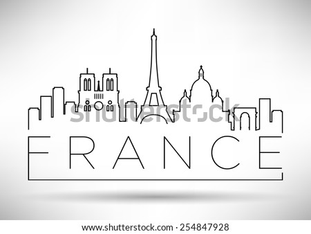 France Line Silhouette Typographic Design - stock vector