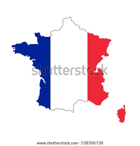 France map and flag in white background