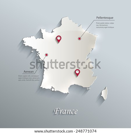 France map blue white card paper 3D vector - stock vector
