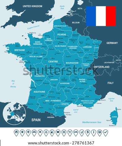 France map, flag and navigation labels - illustration  Image contains next layers: - land contours - country and land names - city names - water object names - flag - navigation icons