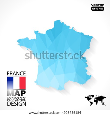 France map geometric polygonal design in vector format - stock vector