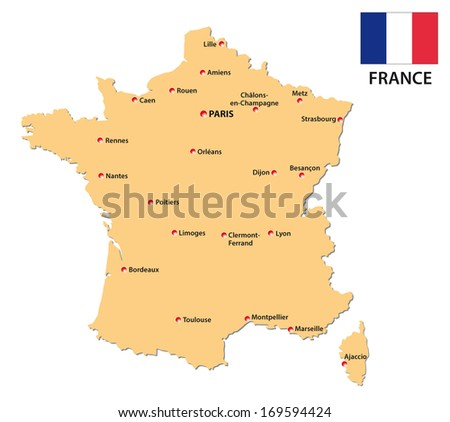 france map with flag - stock vector
