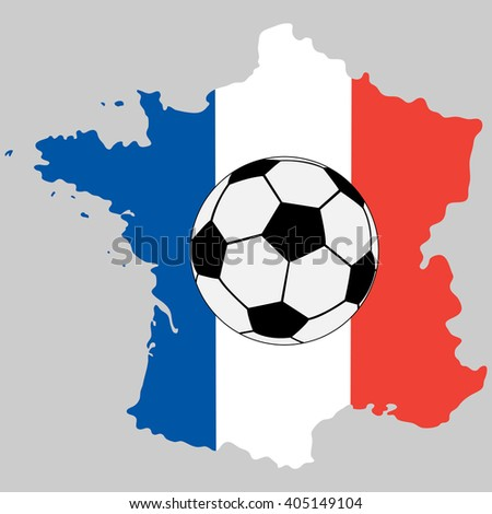 France map with flag and soccer ball - stock vector