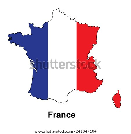 France map with flag inside, france map vector, map vector - stock vector