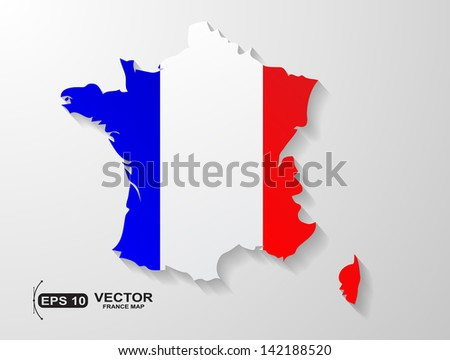 France map  with shadow effect - stock vector