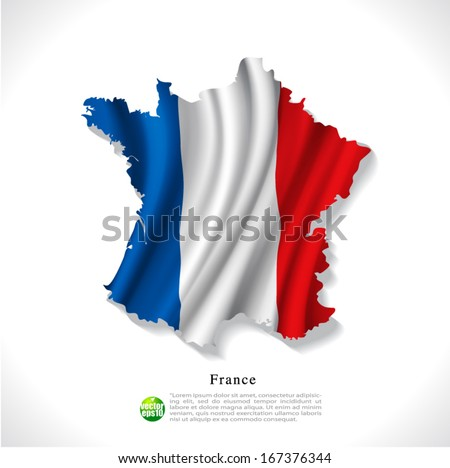 France map with waving flag isolated against white background, vector illustration  - stock vector