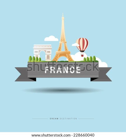 France, Paris, Eiffel Tower, destination, travel, typography - stock vector