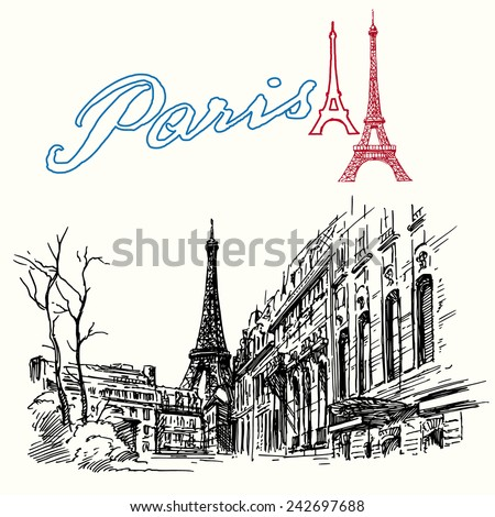 France, Paris - Eiffel tower - hand drawn set - stock vector