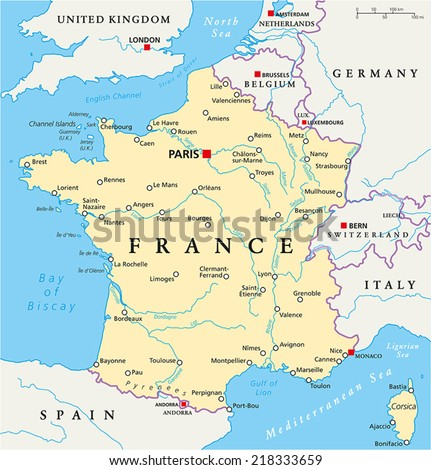 France political map capital paris national stock vector 218333659 france political map with capital paris national borders most important cities and rivers gumiabroncs Choice Image