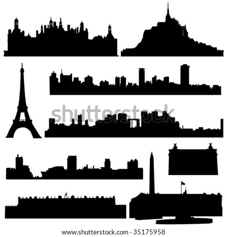 France's famous historical buildings and modern architecture. - stock vector