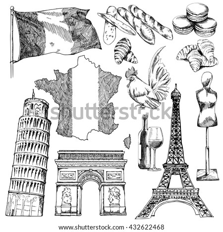 France sketch elements. EPS10 vector illustration