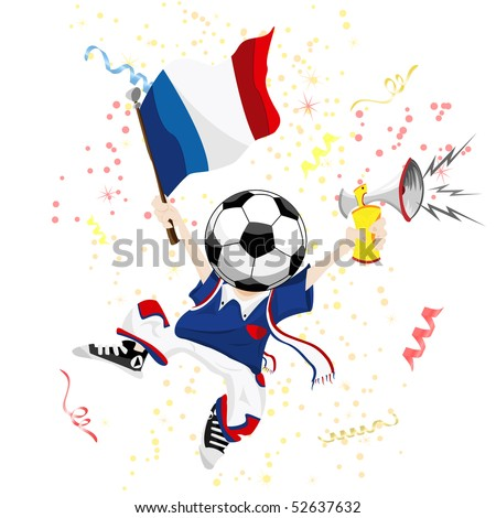France Soccer Fan with Ball Head. Editable Vector Illustration - stock vector