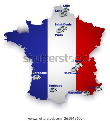 France soccer stadium map - stock vector
