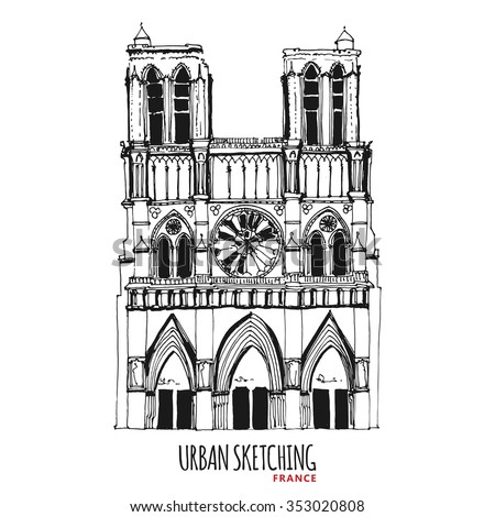 France urban sketch. Paris, Parvis Notre-Dame historical building. Hand drawn vector illustration. Freehand pencil travel sketch. Line art drawing with ink pen on paper. Vintage postcard template. - stock vector