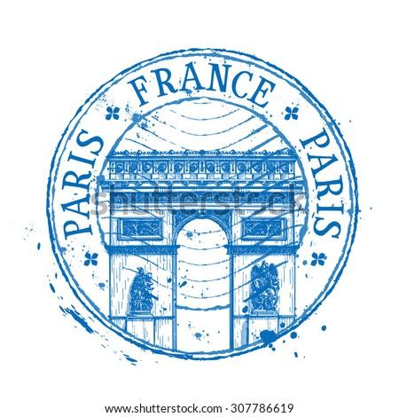 France Vector Logo Design Template Stamp Stock Vector 307786619 ...