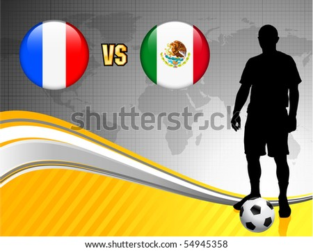 France versus Mexico on Abstract World Map Background Original Illustration - stock vector