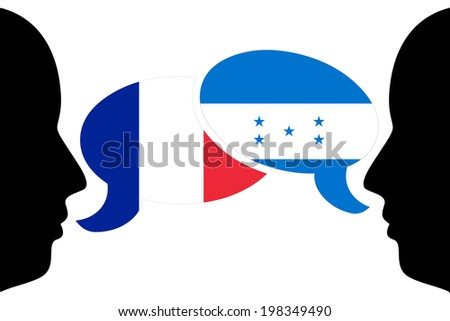 France vs. Honduras - two man discussion in vector - stock vector
