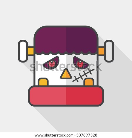 Frankenstein flat icon with long shadow,eps10 - stock vector