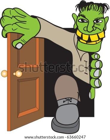Frankenstein's monster come in through door - stock vector