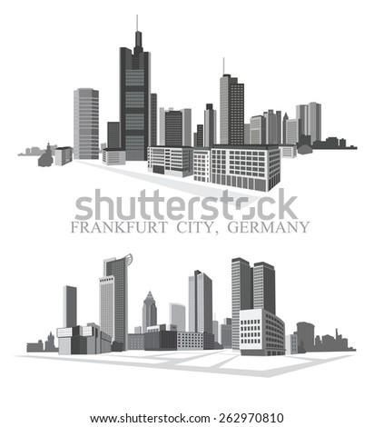 Frankfurt City. Urban panorama. Vector set. - stock vector