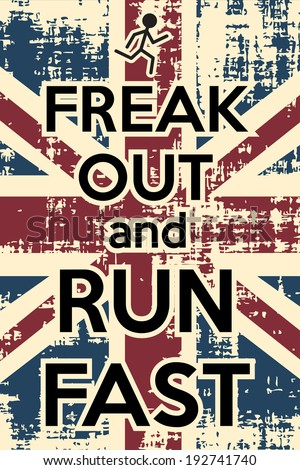 freak out and run fast, illustration in vector format