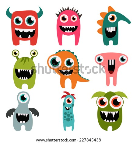 freaky monsters set - stock vector