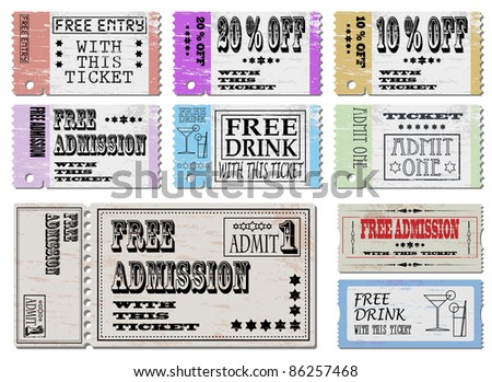 Free admission and sale ticket Illustrations - stock vector