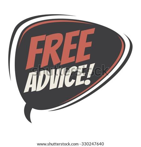 free advice retro speech bubble - stock vector