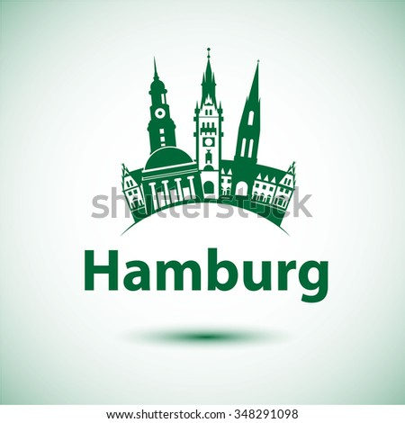 Free and Hanseatic City of Hamburg.  Germany. Vector illustration. City skyline. - stock vector