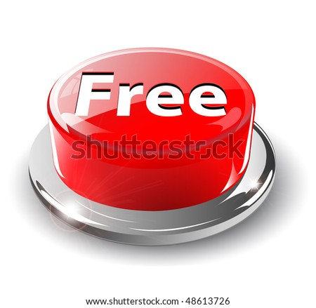 Free button, 3d red glossy metallic, vector.