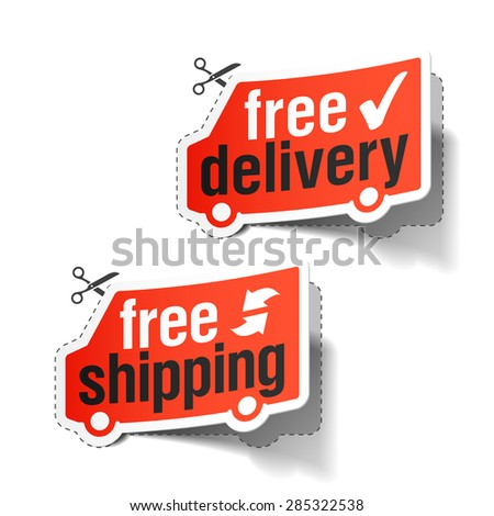 Free delivery and free shipping labels. Vector. - stock vector