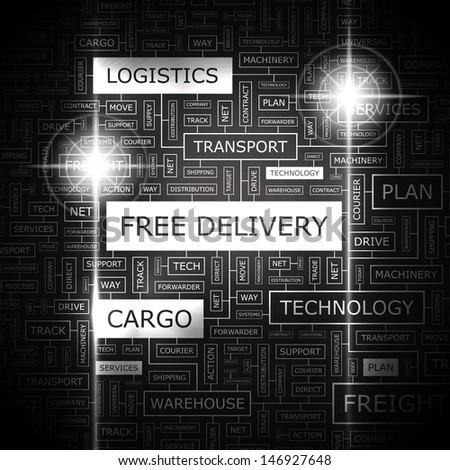FREE DELIVERY. Concept vector illustration. Word cloud with related tags and terms. Graphic tag collection. Wordcloud collage.
