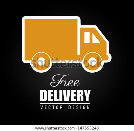 free delivery design over black background vector illustration  - stock vector