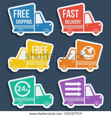 Free delivery, fast delivery, free shipping, around the world, around the clock colorful icons set with blend shadows. Vector. - stock vector