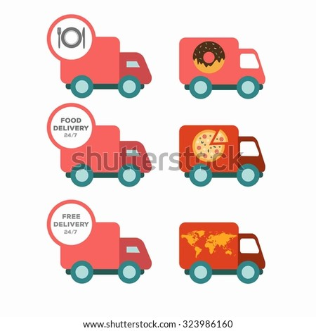 Free delivery, fast delivery, free shipping, around the world, around the clock colorful logo icons set on white background. Vector. Pizza  delivery, Donut delivery - stock vector