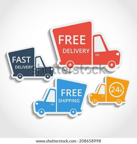 Free delivery, fast delivery, free shipping colorful icons set with blend shadows. Vector. - stock vector