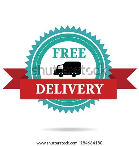 Free delivery icon. Retro badge  - stock vector