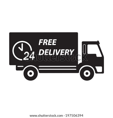 Free delivery icon, vector symbol car carrying cargo,  24 hour.