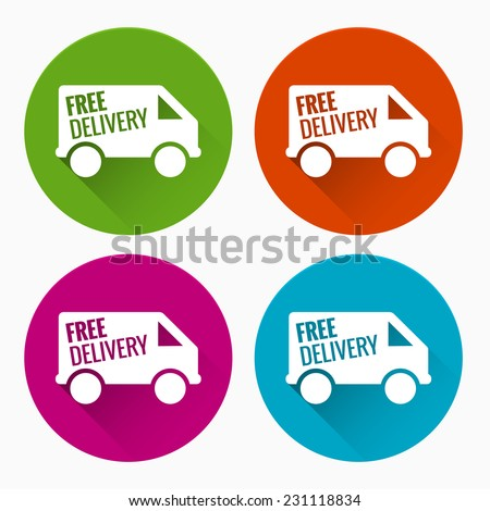 Free delivery labels with long shadow - stock vector
