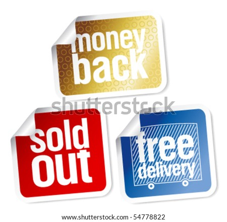 Free delivery, money back, sold out stickers set - stock vector