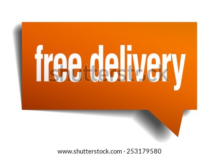 free delivery orange speech bubble isolated on white - stock vector