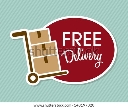 free delivery over lineal background vector illustration  - stock vector
