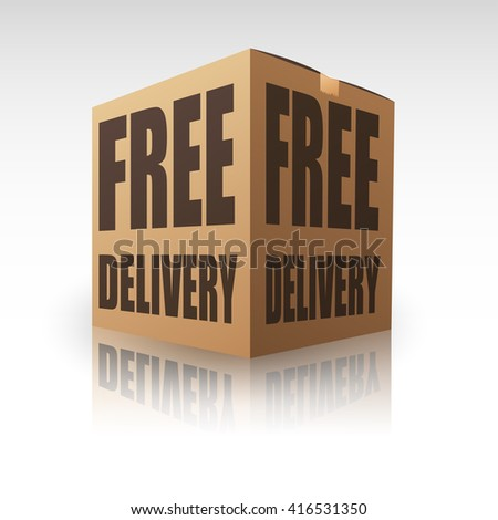 Free Delivery Package Shipping Online - stock vector